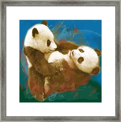 Panda - Stylised Drawing Art Poster Framed Print by Kim Wang