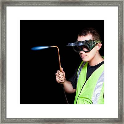 Panelbeater In Safety Goggles Framed Print