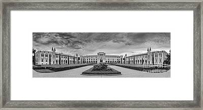 Panorama Of Rice University Academic Quad Black And White - Houston Texas Framed Print