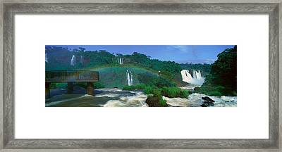 Panoramic View Of Iguazu Waterfalls Framed Print