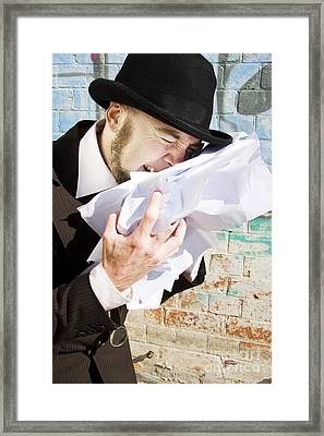 Paperwork Blues Framed Print by Jorgo Photography - Wall Art Gallery