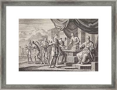 Parable Of The Laborers In The Vineyard, Jan Luyken Framed Print by Jan Luyken And Pieter Mortier