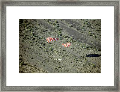 Parachute Test For Orion Spacecraft Framed Print by Nasa
