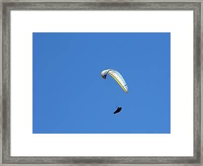 Paraglider In Flight Framed Print by Jim West