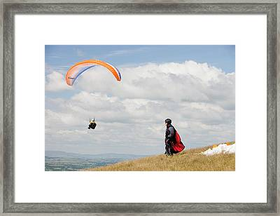 Paraponters Flying From Pendle Hill Framed Print by Ashley Cooper