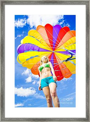Parasailing On Summer Vacation Framed Print by Jorgo Photography - Wall Art Gallery