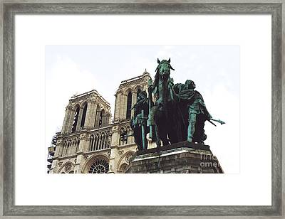 Paris Charlemagne Notre Dame Cathedral Sculpture Monument Landmark - Paris Charlemagne Monument Framed Print