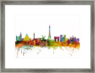Paris France Skyline Framed Print by Michael Tompsett