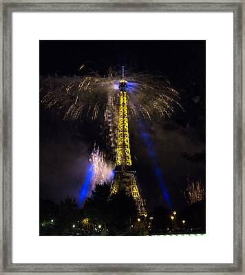 Paris - July Famous Fireworks Near Eiffel Tower During Celeb Framed Print by Radoslav Nedelchev