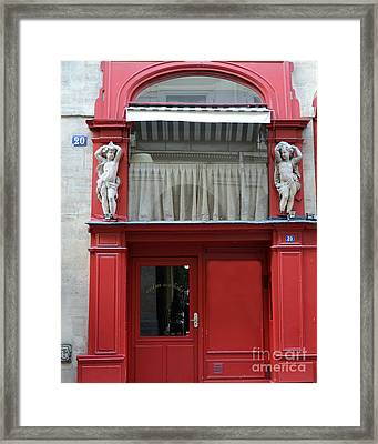 Paris Red Door Photography - Paris Red Cafe - Red And White Architecture Art Nouveau Art Deco Framed Print by Kathy Fornal