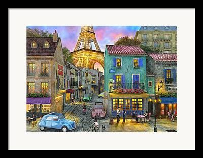 Evening Scenes Drawings Framed Prints