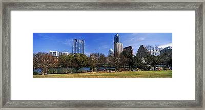 Park With Skyscrapers Framed Print
