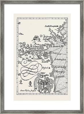 Part Of Captain J. Smiths Map Of New England Framed Print by American School