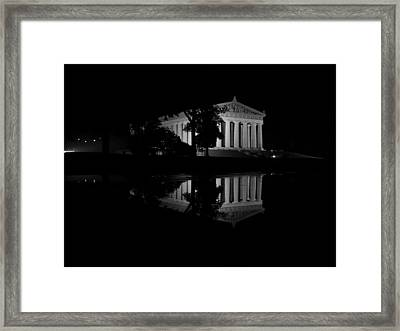 Parthenon Puddle Framed Print