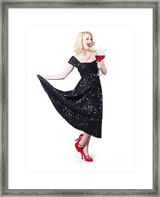 Party Woman In A Black Sequin Dress Over White Framed Print by Jorgo Photography - Wall Art Gallery