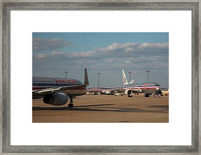 Passenger Airliners At An Airport Framed Print