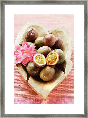 Passion Fruits (purple Granadilla) In Wooden Bowl Framed Print