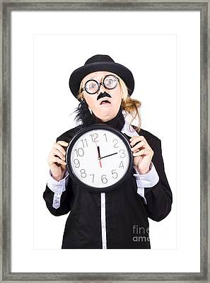 Past Tense Woman Running Out Of Time Framed Print by Jorgo Photography - Wall Art Gallery