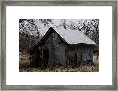 Patchwork Barn With Icicles Framed Print