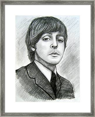 Framed Print featuring the drawing Paul Mccartney by Patrice Torrillo