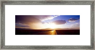 Paved Road At Sunset, Death Valley Framed Print by Panoramic Images