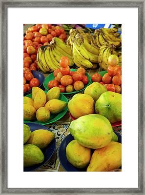 Pawpaw/papaya, Tomatoes And Bananas Framed Print by David Wall