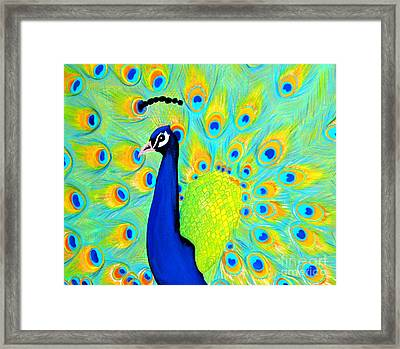 Framed Print featuring the painting Peacock. Inspirations Collection. by Oksana Semenchenko