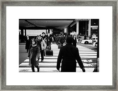Pedestrians Crossing Crosswalk Carrying Luggage On Seventh 7th Ave Avenue  Framed Print