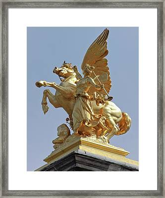 Pegasus Statue At The Pont Alexander Framed Print by William Sutton