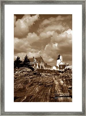Pemaquid In Sepia Framed Print by Skip Willits
