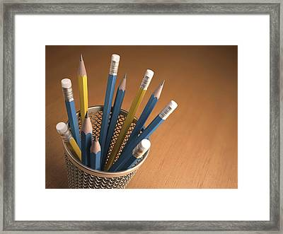 Pencils In A Pot Framed Print by Ktsdesign