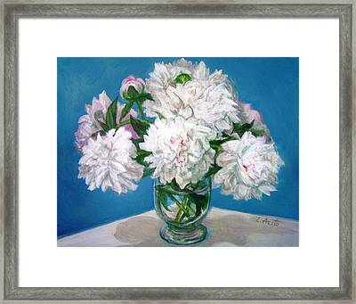Framed Print featuring the painting Peonies II by Laura Aceto