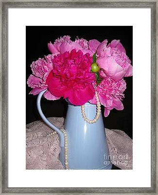 Peonies Pearls And Lace Framed Print