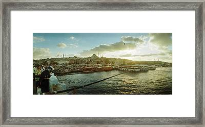 People Fishing In The Bosphorus Strait Framed Print