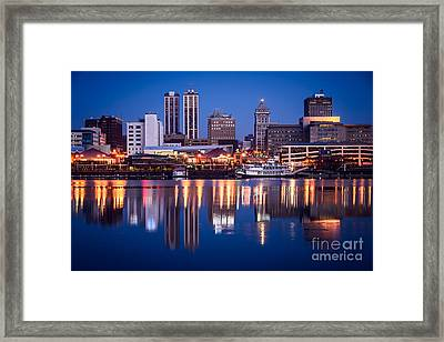 Peoria Illinois Skyline At Night Framed Print by Paul Velgos