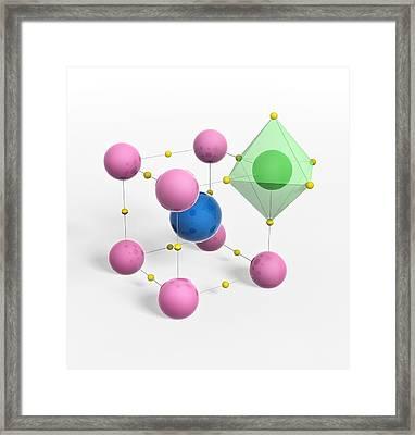 Perovskite Mineral, Molecular Model Framed Print