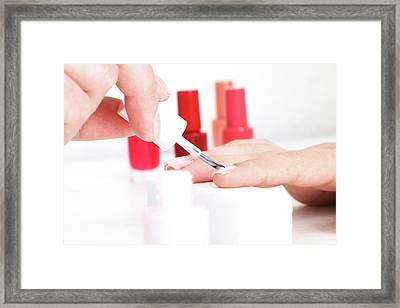 Person Having Fingernails Painted Framed Print by Wladimir Bulgar