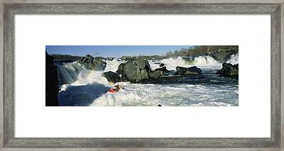Person Kayaking In A River, Great Framed Print