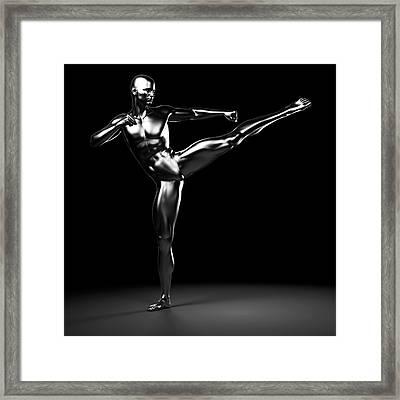 Person Kick Boxing Framed Print by Sebastian Kaulitzki