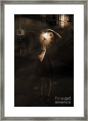 Person With Clock Face Framed Print by Jorgo Photography - Wall Art Gallery