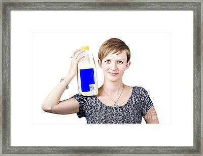 Person With Organic Farm Fresh Milk Framed Print by Jorgo Photography - Wall Art Gallery