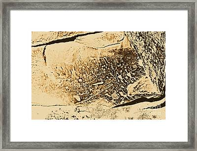 Petroglyphs On Newspaper Rock Petrified Forest National Park Rustic Framed Print by Shawn O'Brien