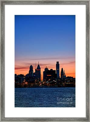 Philadelphia Dusk Framed Print by Olivier Le Queinec
