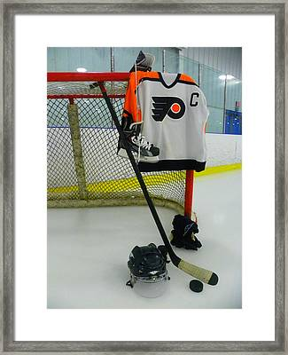 Philadelphia Flyers Away Hockey Jersey Framed Print by Lisa Wooten