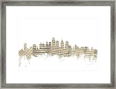 Philadelphia Pennsylvania Skyline Sheet Music Cityscape Framed Print by Michael Tompsett