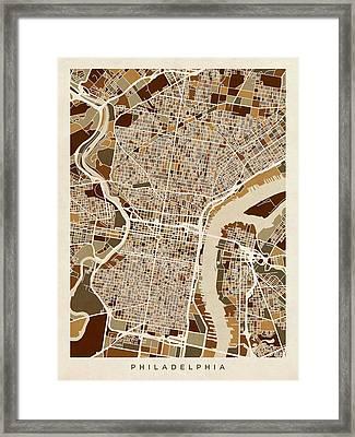 Philadelphia Pennsylvania Street Map Framed Print by Michael Tompsett