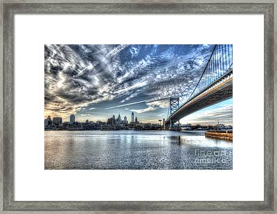 Philadelphia Skyline - Camden View Of Ben Franklin Bridge Framed Print