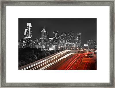Philadelphia Skyline At Night Black And White Bw  Framed Print by Jon Holiday