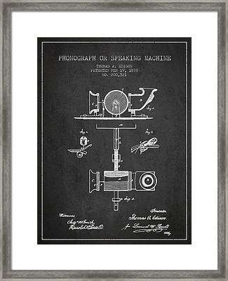 Phonograph Or Speaking Machine Patent Drawing From 1878 Framed Print