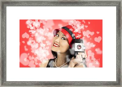 Photographer Woman With Camera. Photography Love Framed Print